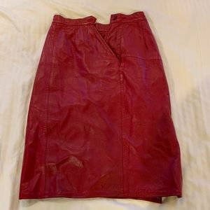 Neiman Marcus red leather skirt
